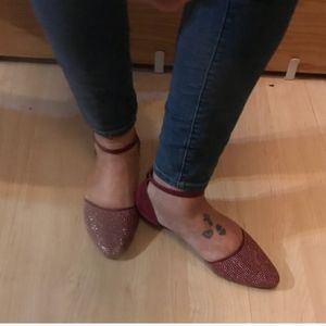 Shoes - Cute Burgundy Studded Ankle Strap Flats Sz 10